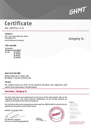tBL® - RJ45 Module Cat.6<sub>A</sub> Certificate