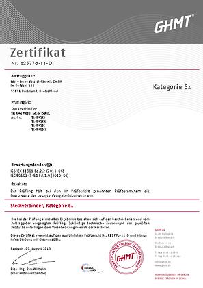tBL® - RJ45 Modul Kat.6<sub>A</sub> Zertifikat