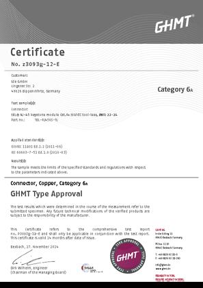 tBL® - RJ45 Module (tool-less) Cat.6<sub>A</sub> Certificate