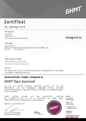 tBL® - RJ45 Modul (tool-less) Kat.6<sub>A</sub> Zertifikat